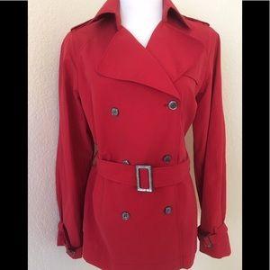 Jones NY red coat short trench coat 3/4 length